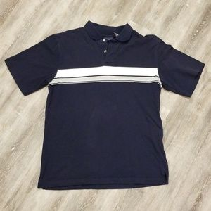 Puritan Navy Blue Polo with White and Gray Stripes